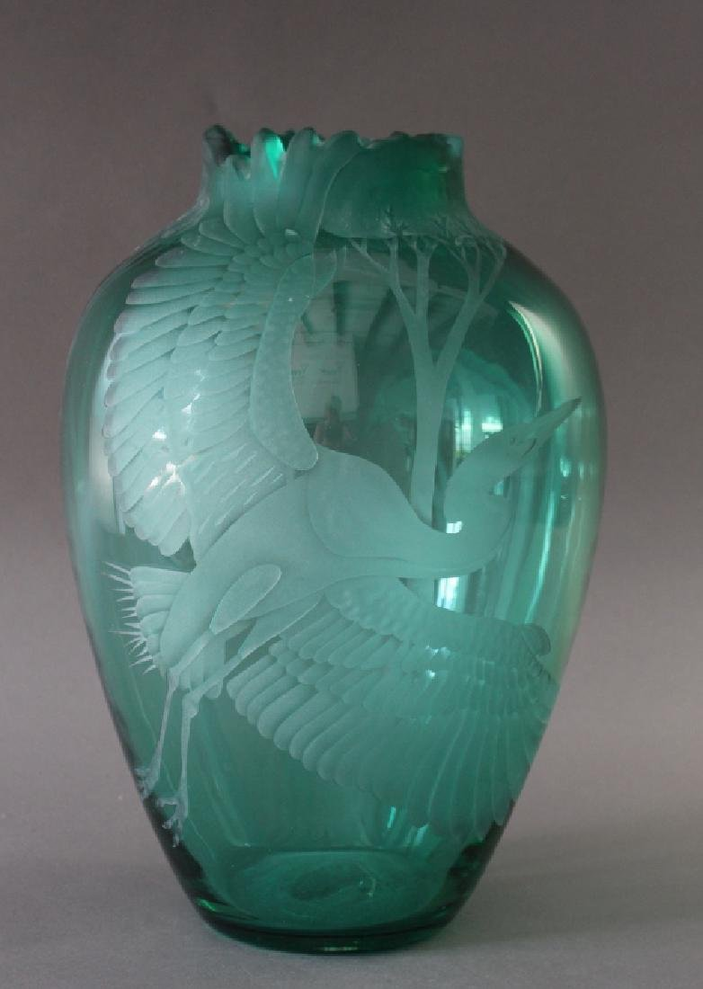 Rare Blenko Etched Glass Vase