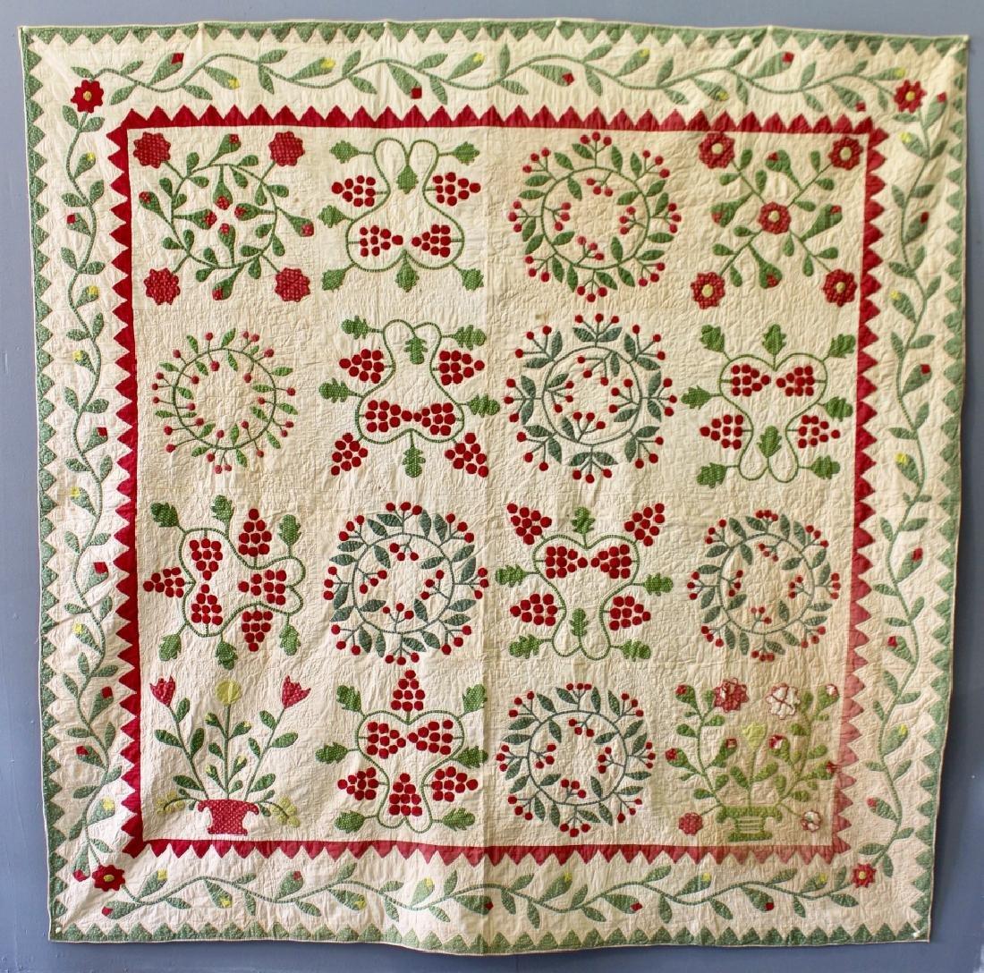 1800s Handmade Floral Applique Quilt