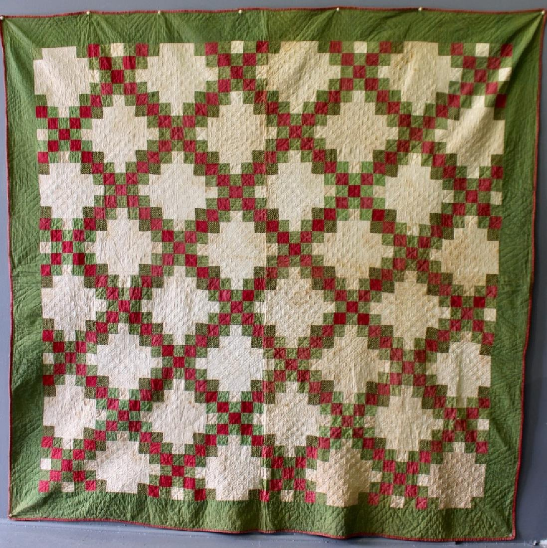1800s Irish Chain Red & Green Quilt