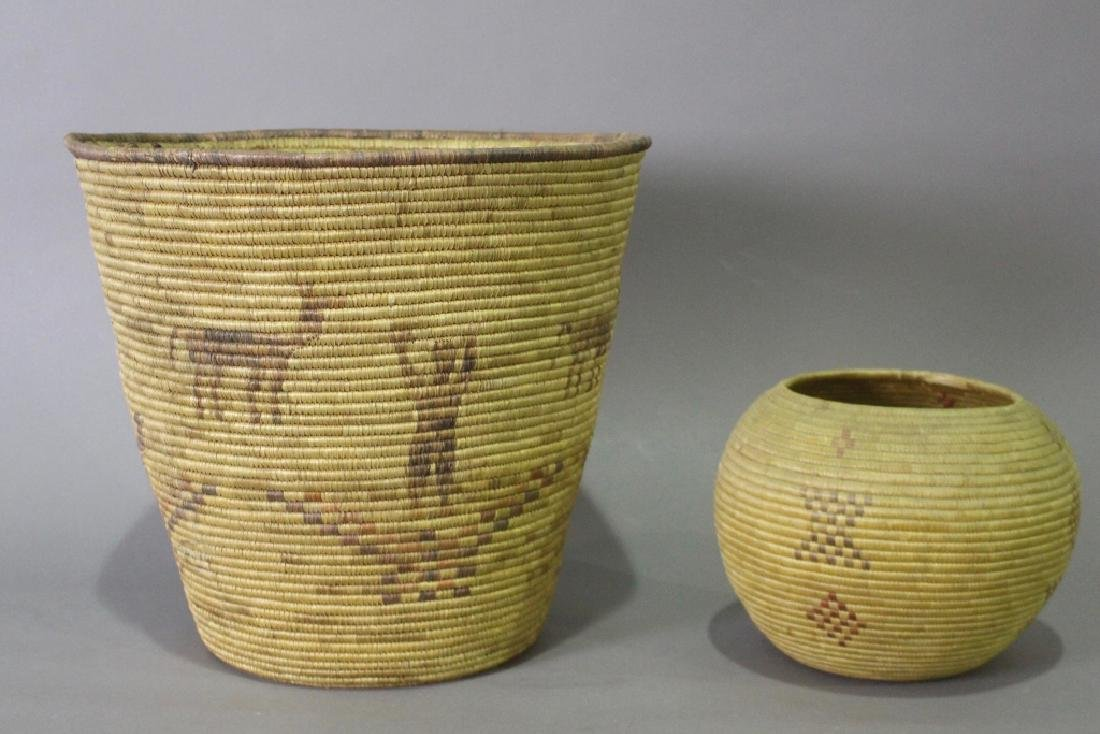 Two Inuit Coiled Baskets