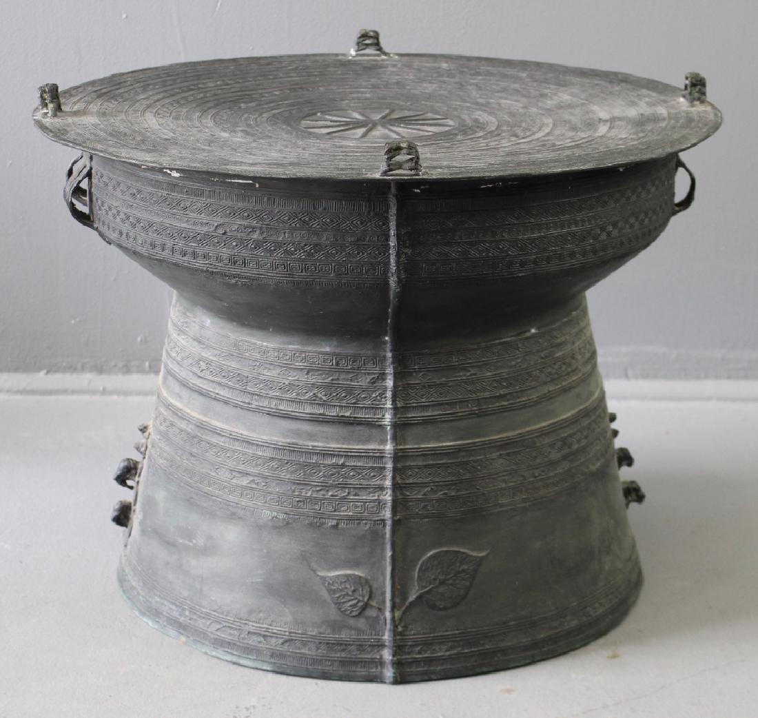 Large Bronze African Drum Table