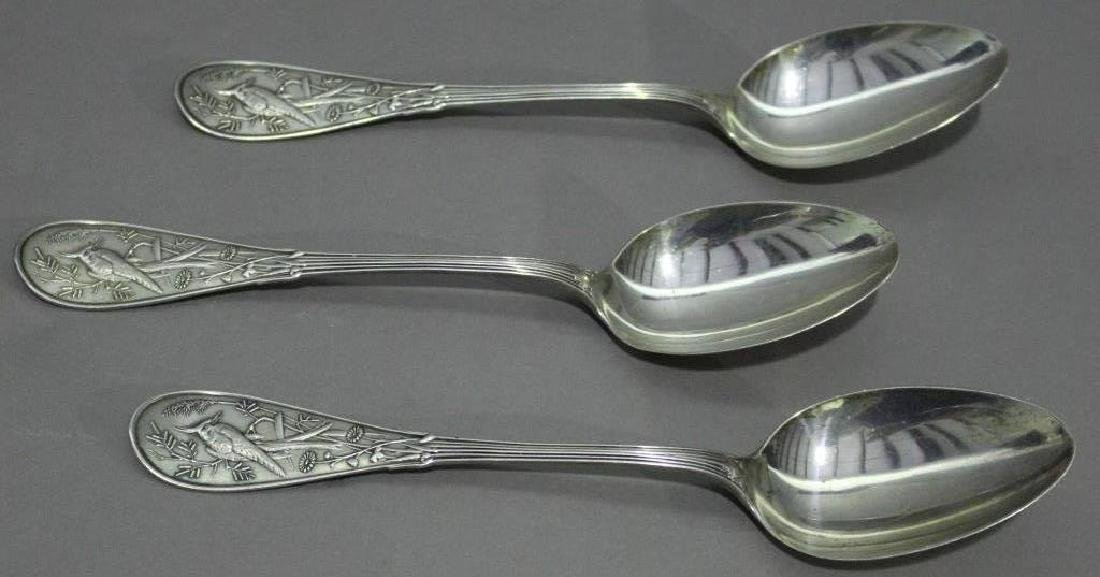 "Three Large Tiffany Sterling Spoons ""Japanese"""
