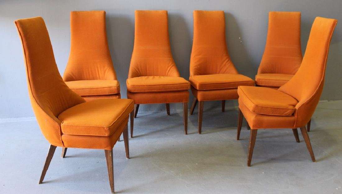 six midcentury modern dining chairs