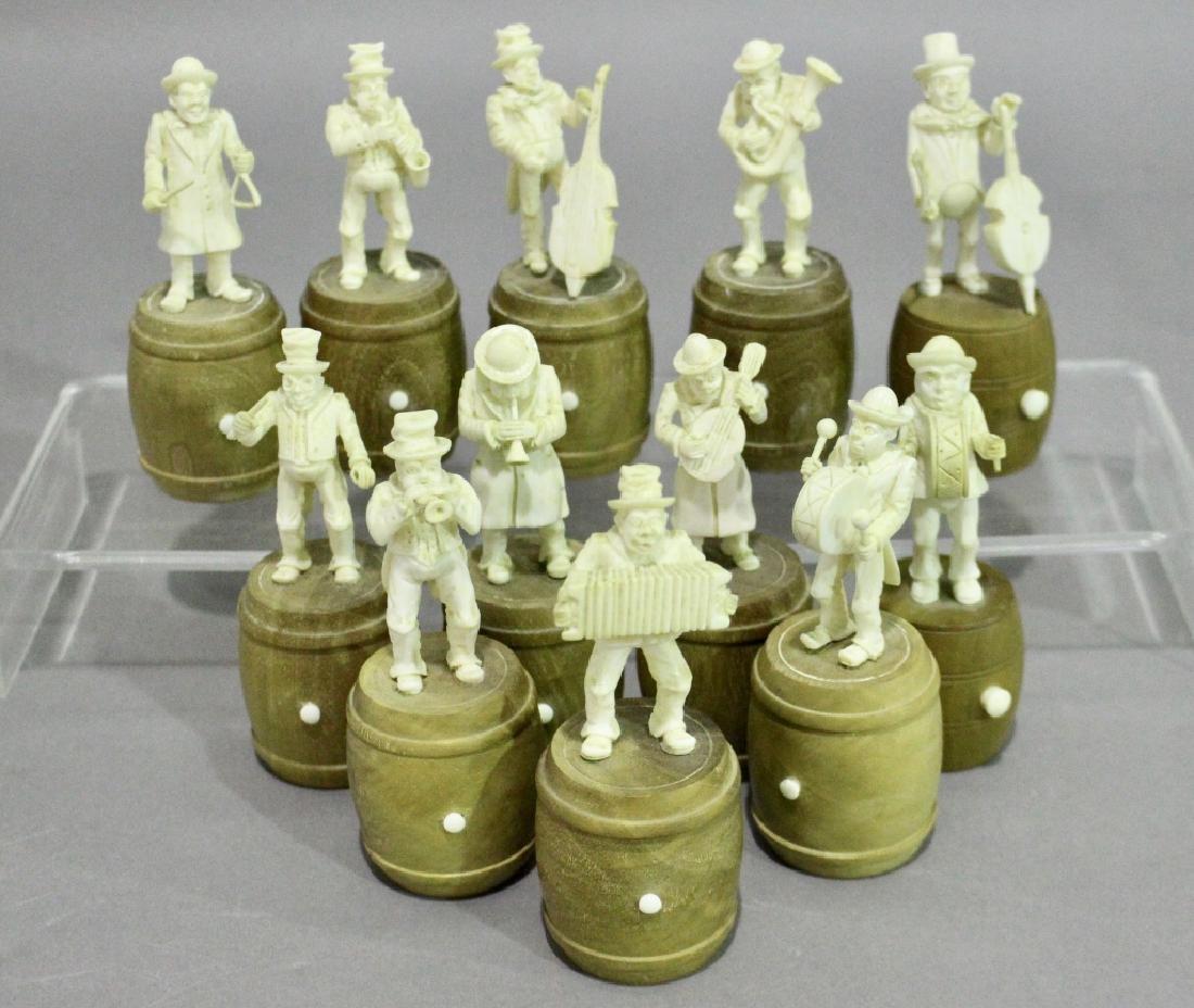 Set of Twelve Carved Pachyderm Musicians