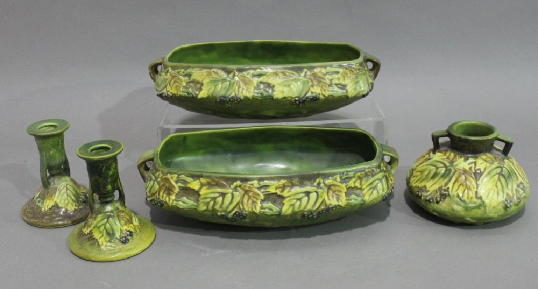 Five Piece Group Roseville Pottery