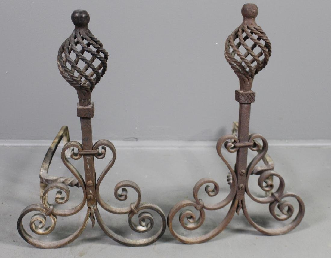 Pair Early Wrought Iron Andirons