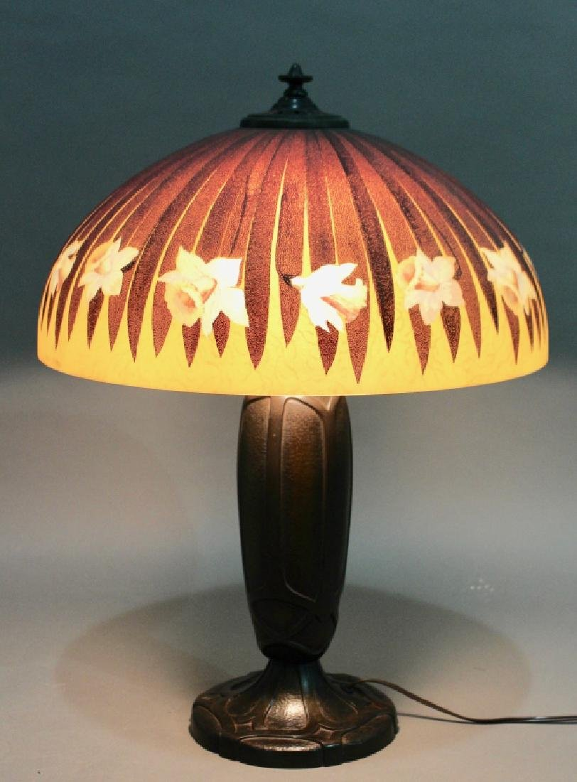 Bradley & Hubbard Reverse Painted Lamp