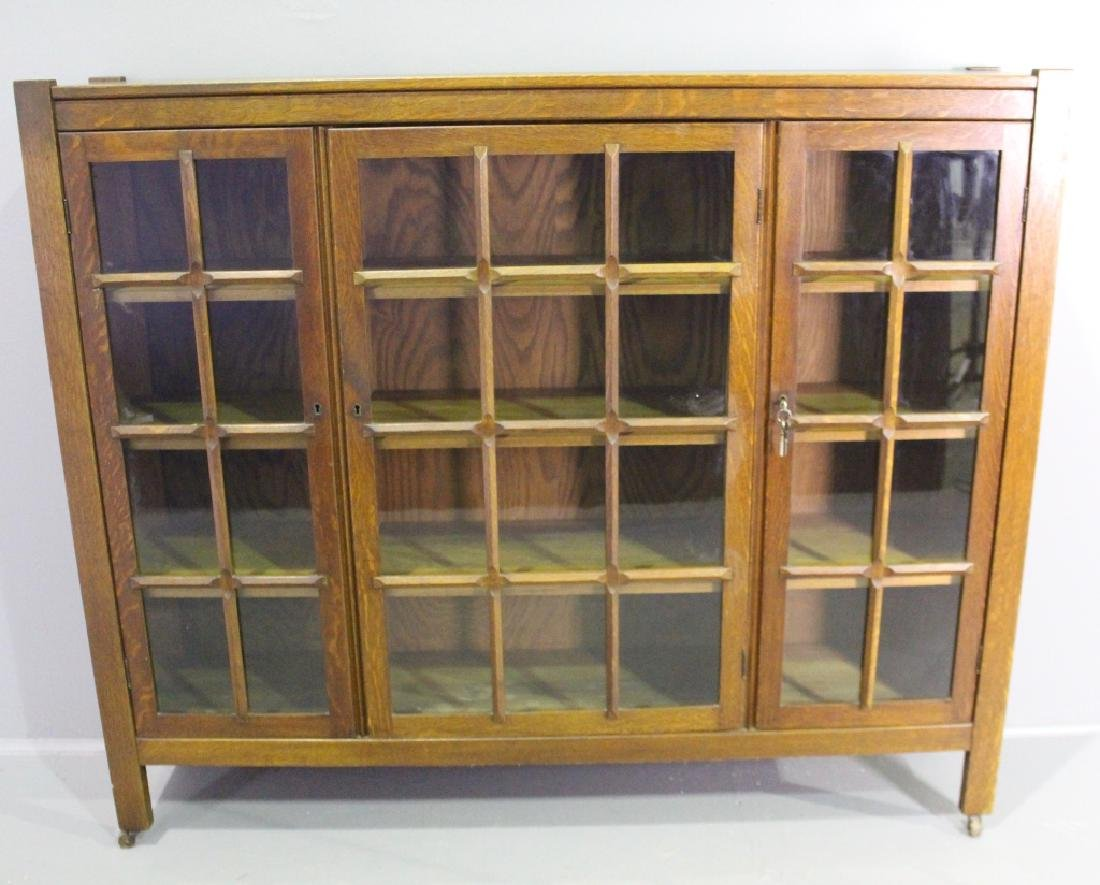 Arts & Crafts Mission Oak Triple Door Bookcase