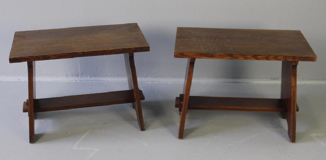 Pair Arts & Crafts Style Oak Benches