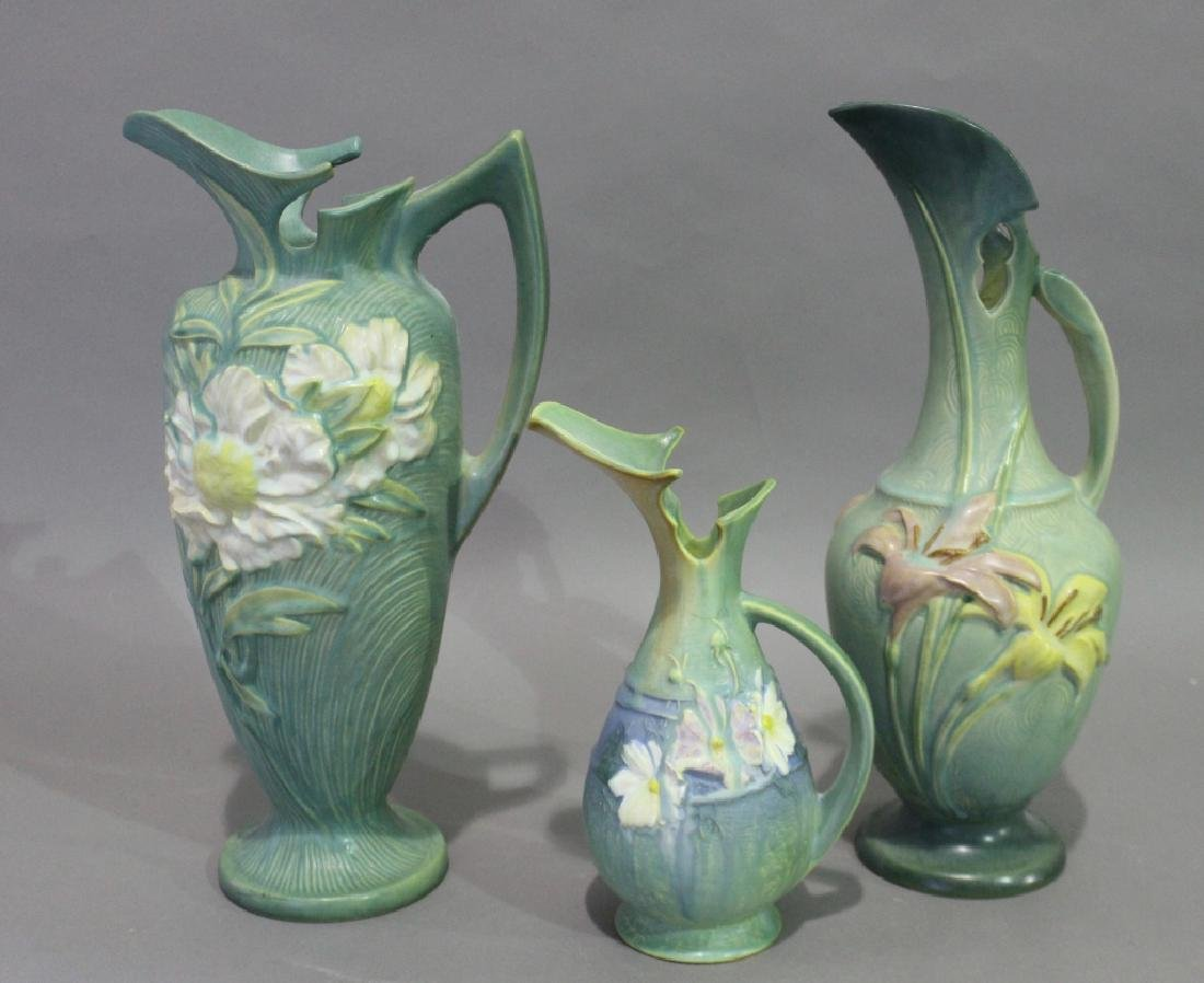 Three Pieces Roseville Pottery Ewers