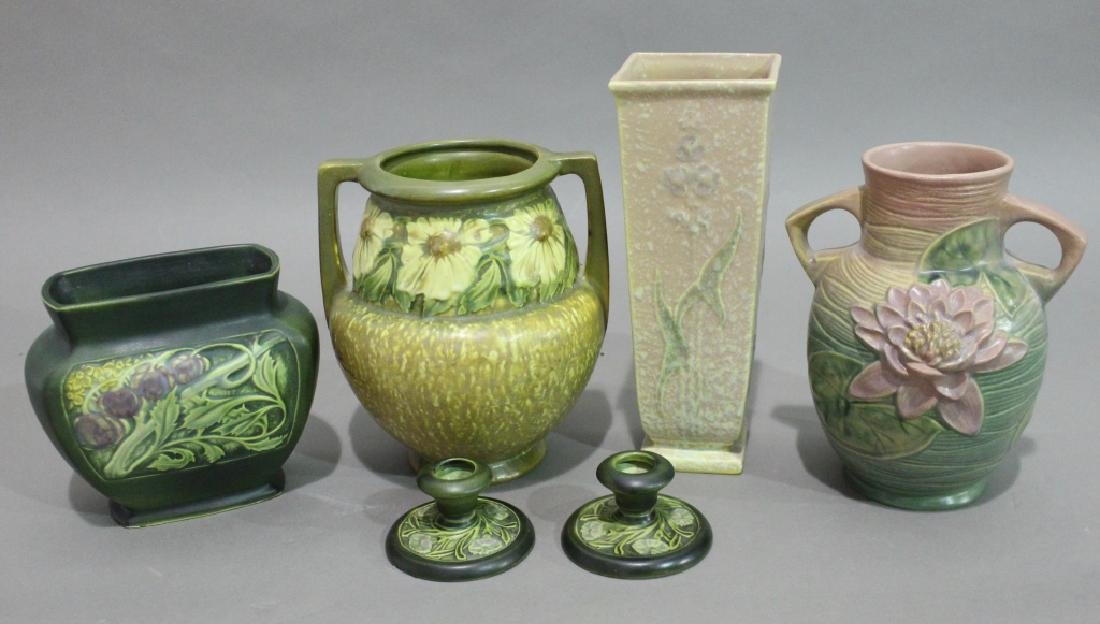 Six Pieces Roseville Pottery