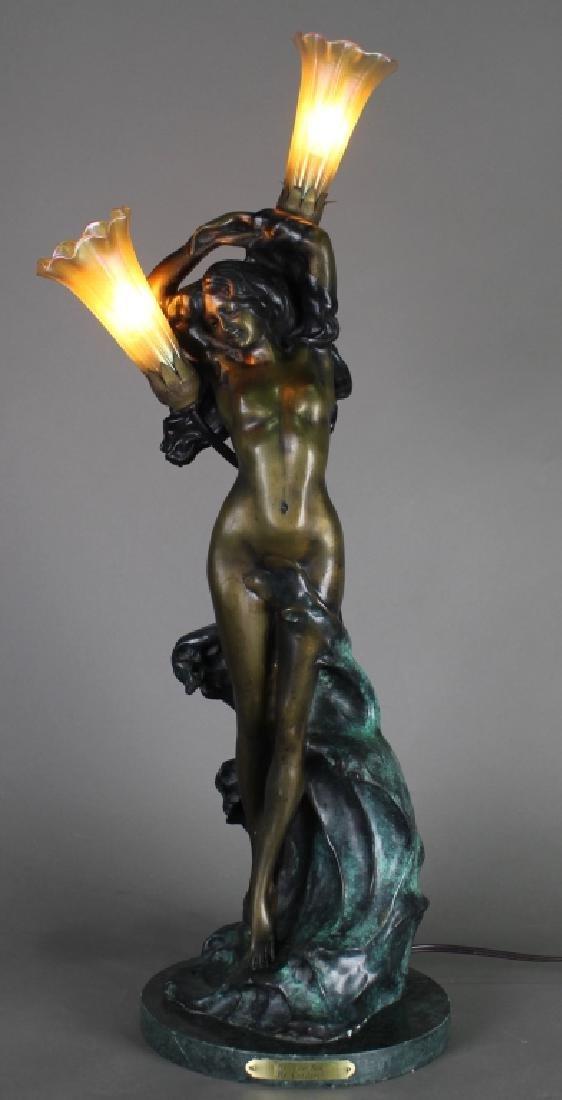 Bronze Art Nouveau Figural Lamp