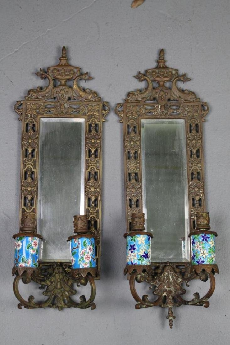 Pair Mirrored Bronze Dolphin Wall Sconces