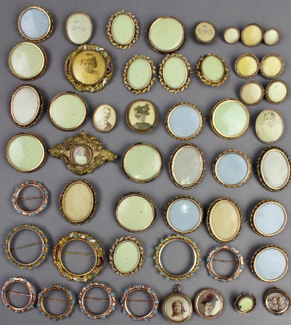46 Victorian Lapel Picture Pin-Back Frames