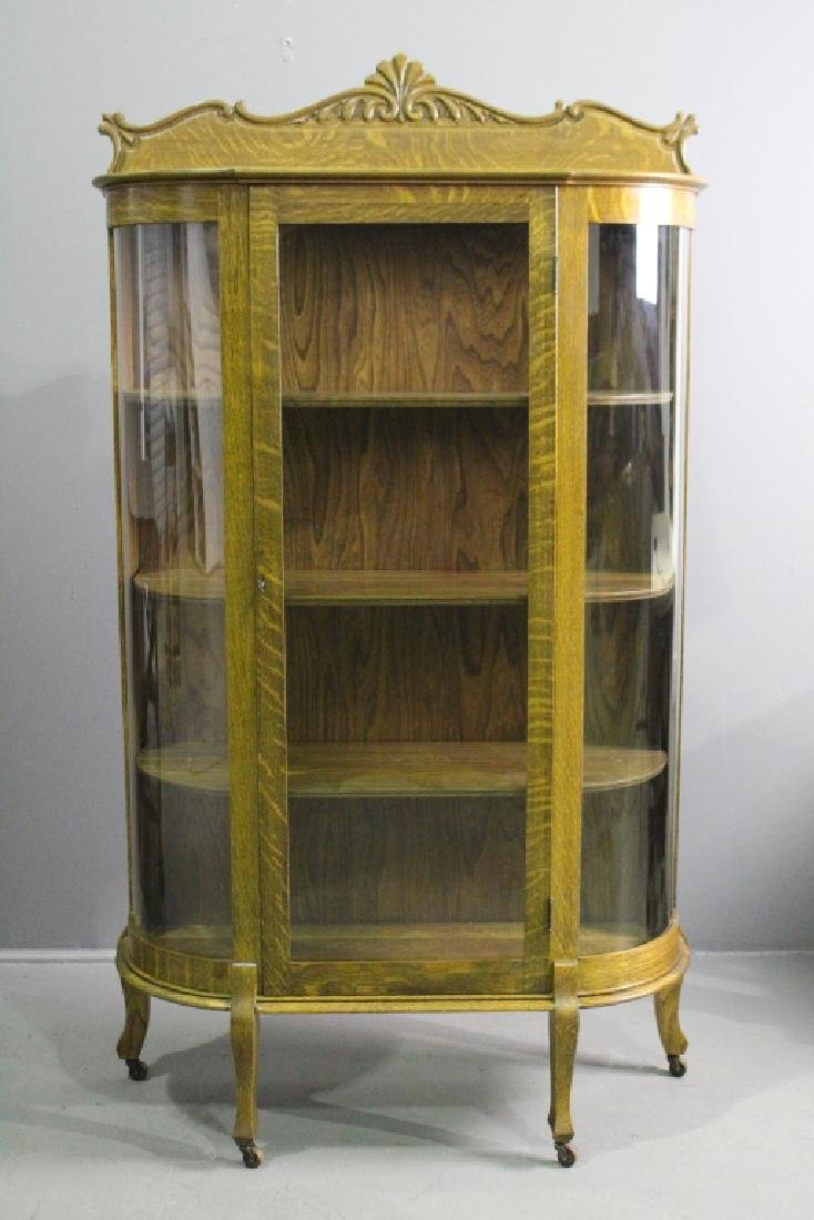Oak Bow Glass China Cabinet