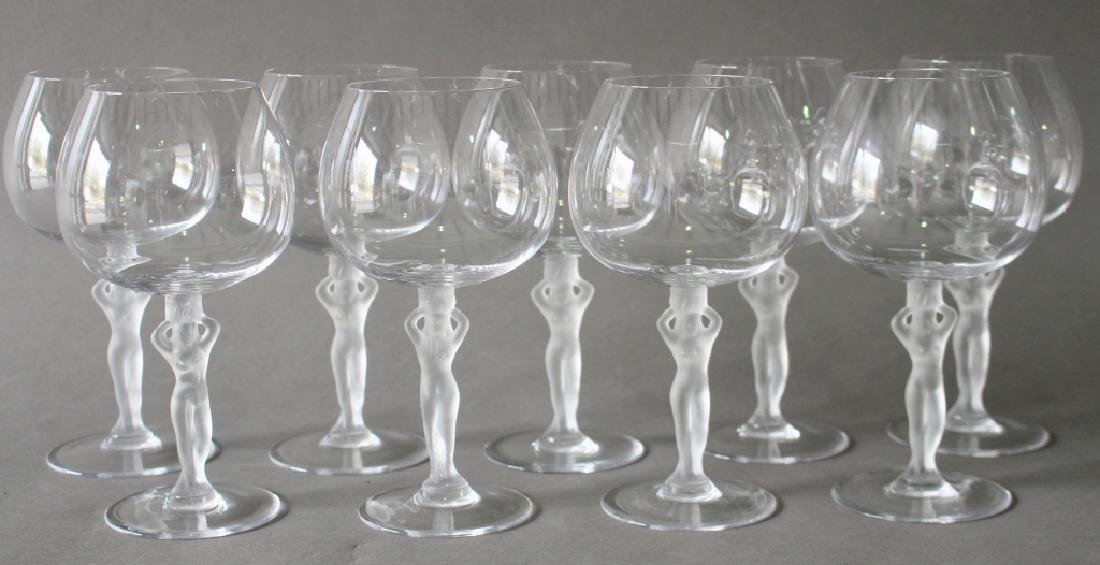 Nine Crystal Wine Goblets with Nude
