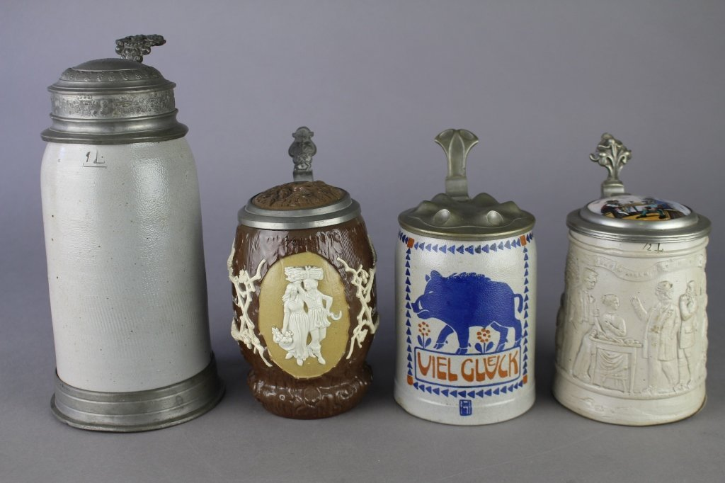 Four German Steins