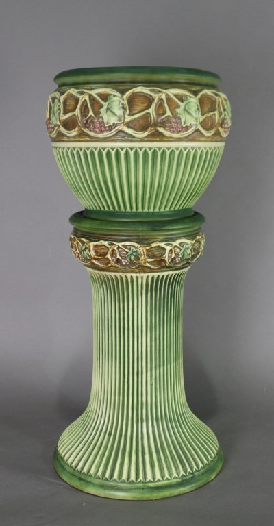 Roseville Pottery Jardiniere & Pedestal Normandy