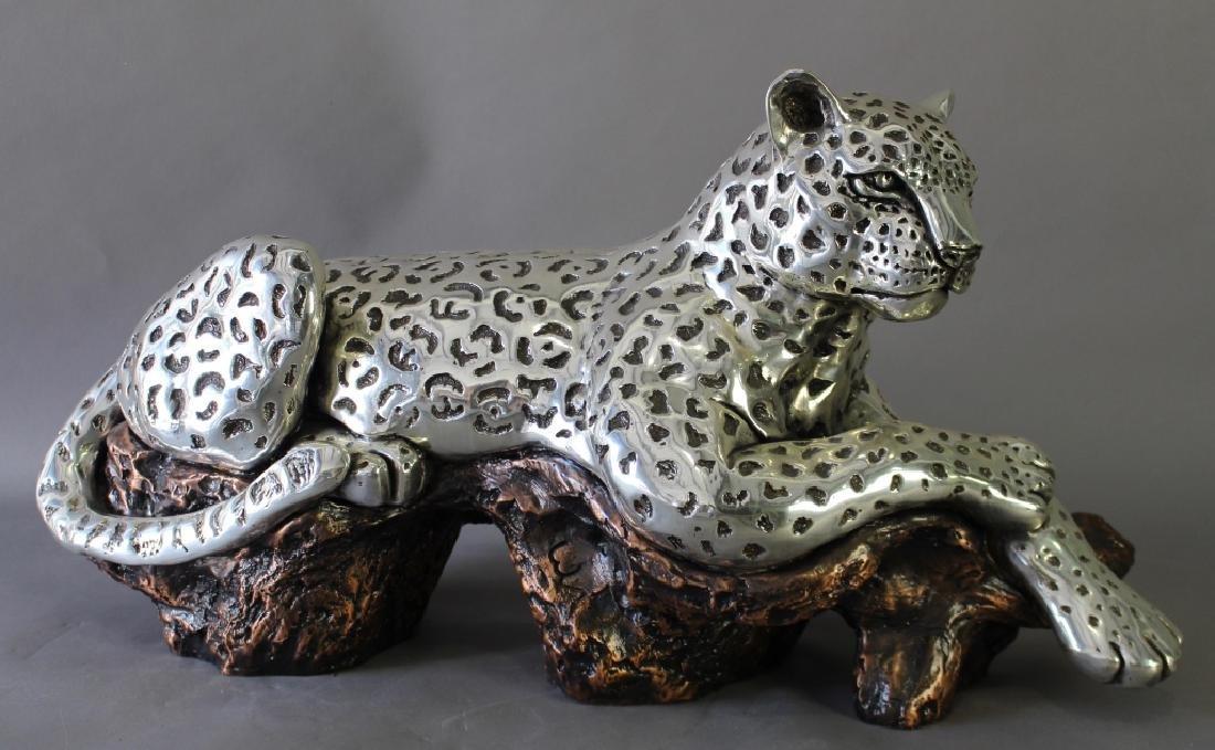 D'Argenta, Silver on Copper Jaguar Sculpture