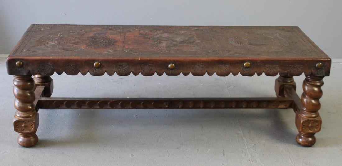 Peruvian Tooled Leather Bench
