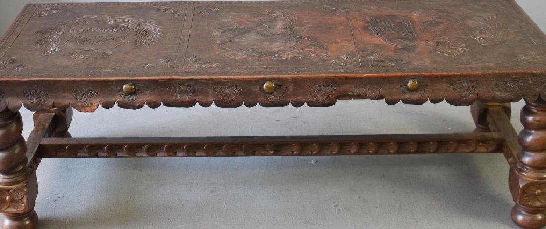 Peruvian Tooled Leather Bench - 5