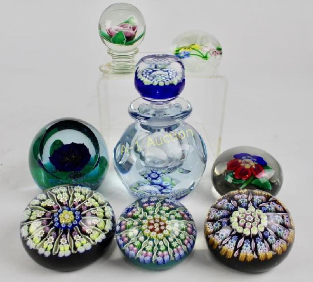 Group of 8 Art Glass Paperweights
