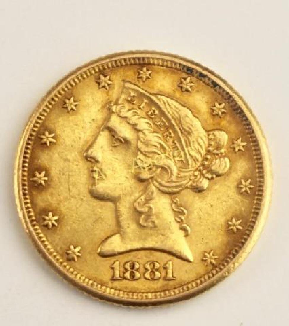 1881 US Five Dollar Gold Coin