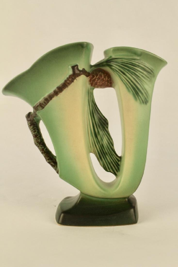 Roseville Green Pine Cone Double Vase