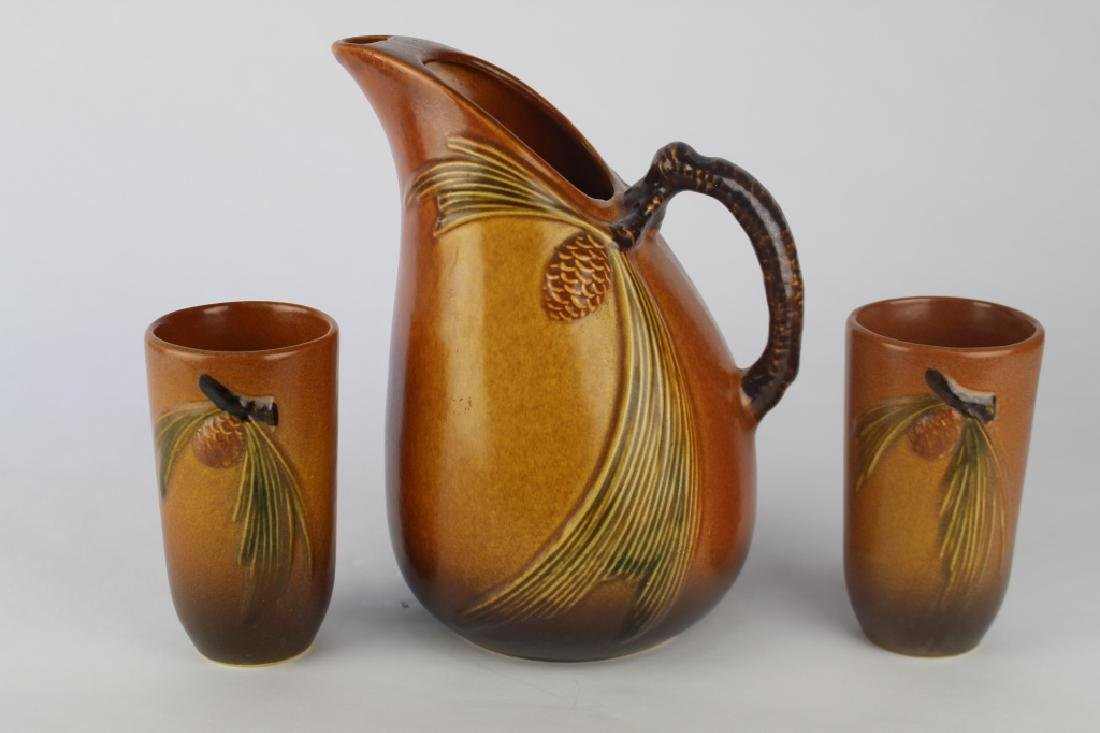 Roseville Brown Pine Cone Pitcher & Tumblers