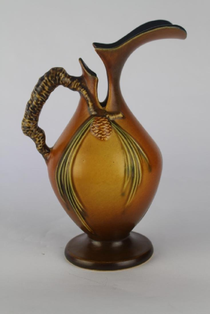 Roseville Brown Pine Cone Ewer - 2