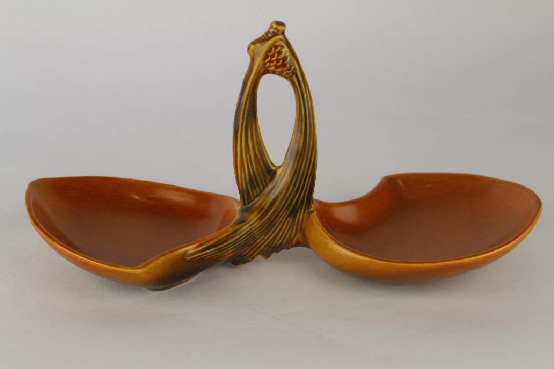 Roseville Brown Pine Cone Tray - 2