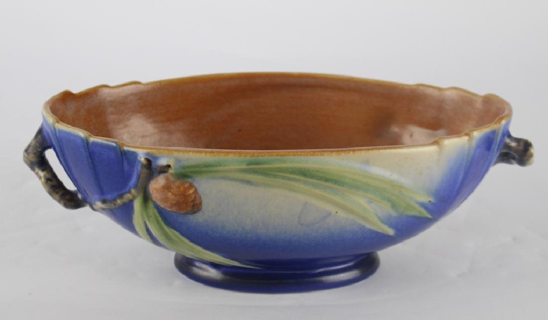 Roseville Blue Pine Cone Footed Bowl