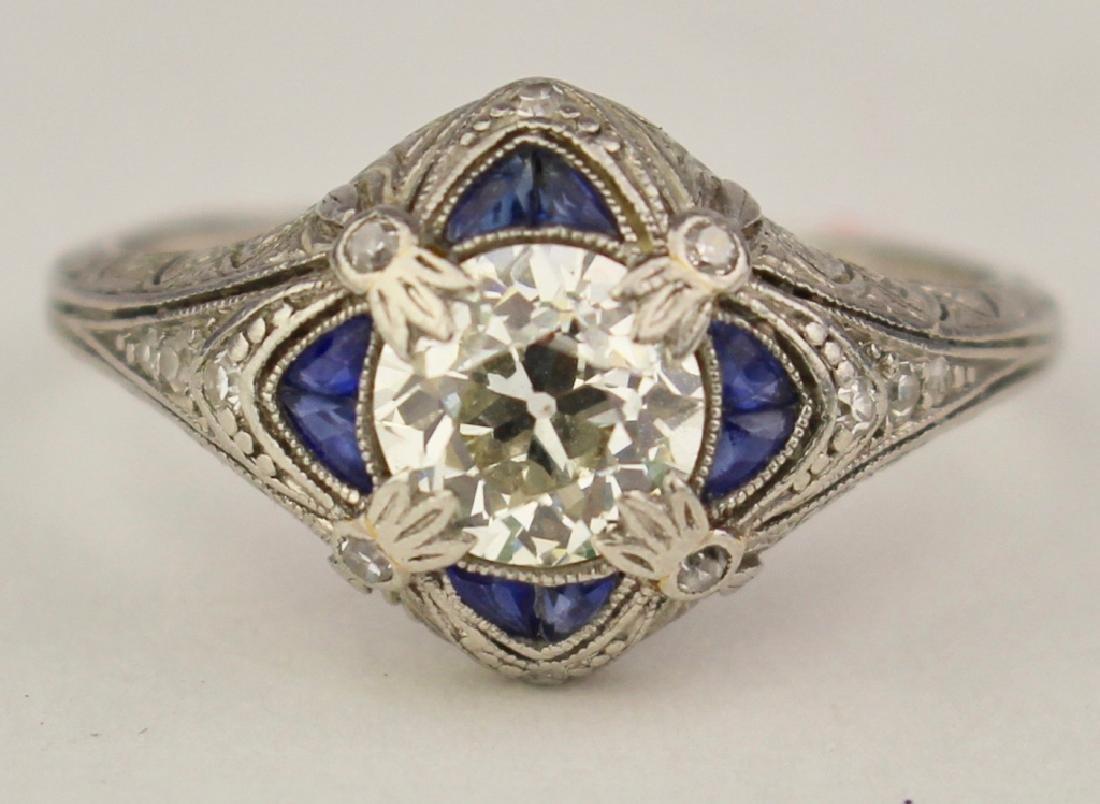 Art Deco Platinum Sapphire & Diamond Ring