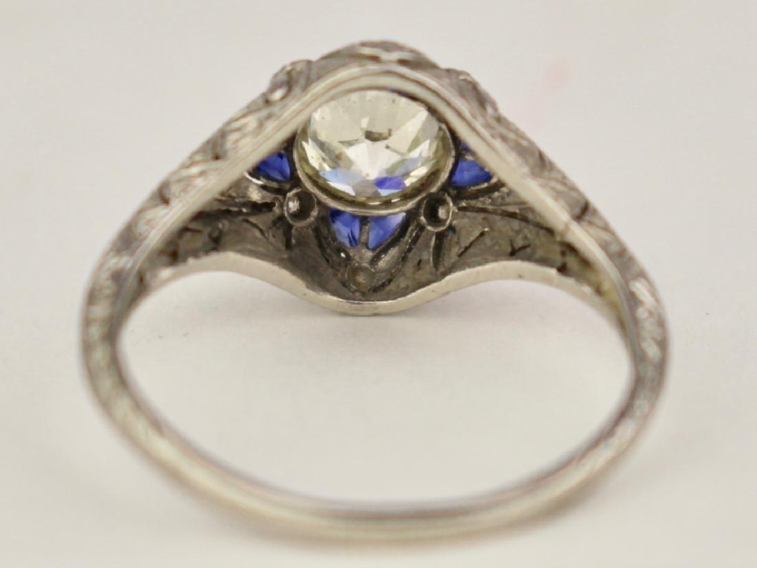 Art Deco Platinum Sapphire & Diamond Ring - 3