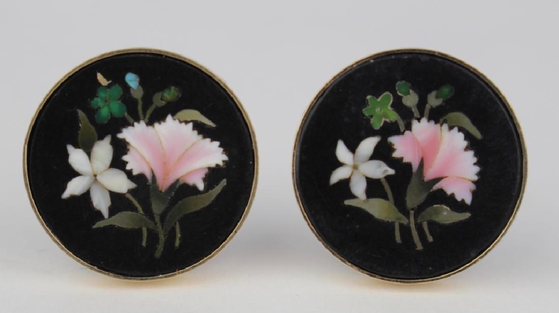 Pair Micro-Mosaic Inlay Earrings