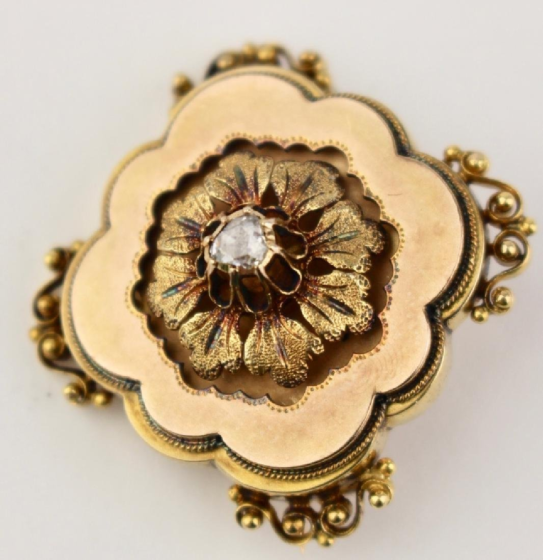 Victorian 18K Brooch with Diamond