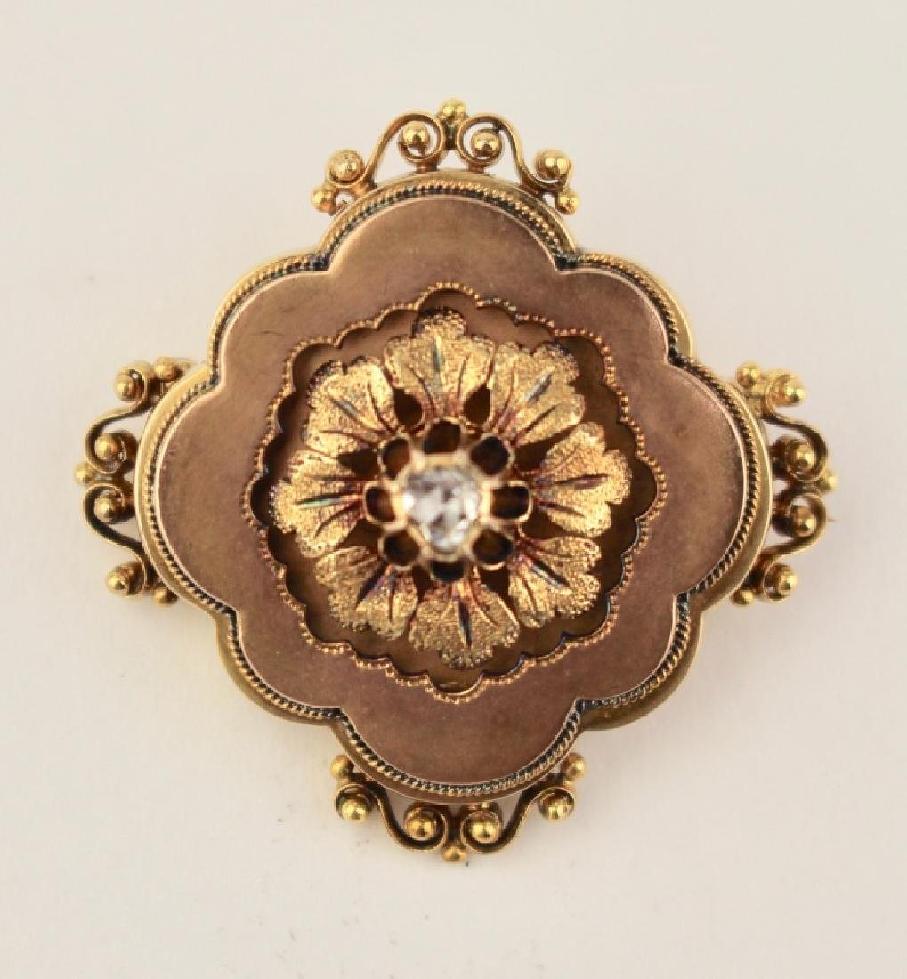 Victorian 18K Brooch with Diamond - 2