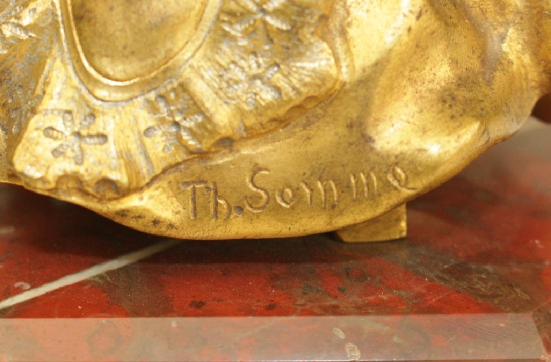 Theophile Somme, Gilt Bronze Girl - 4