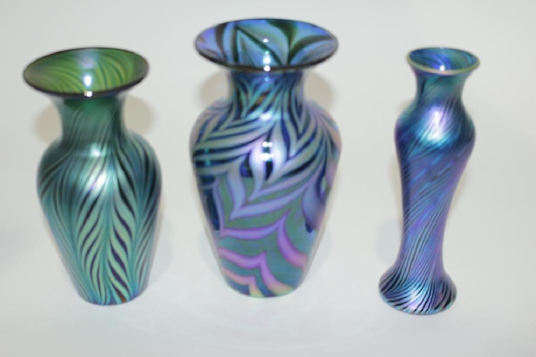 Three Lundberg Studio Art Glass Vases