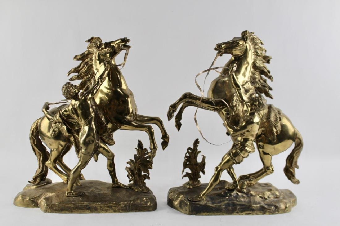 Guillame Coustou (after) Cast Brass Horses