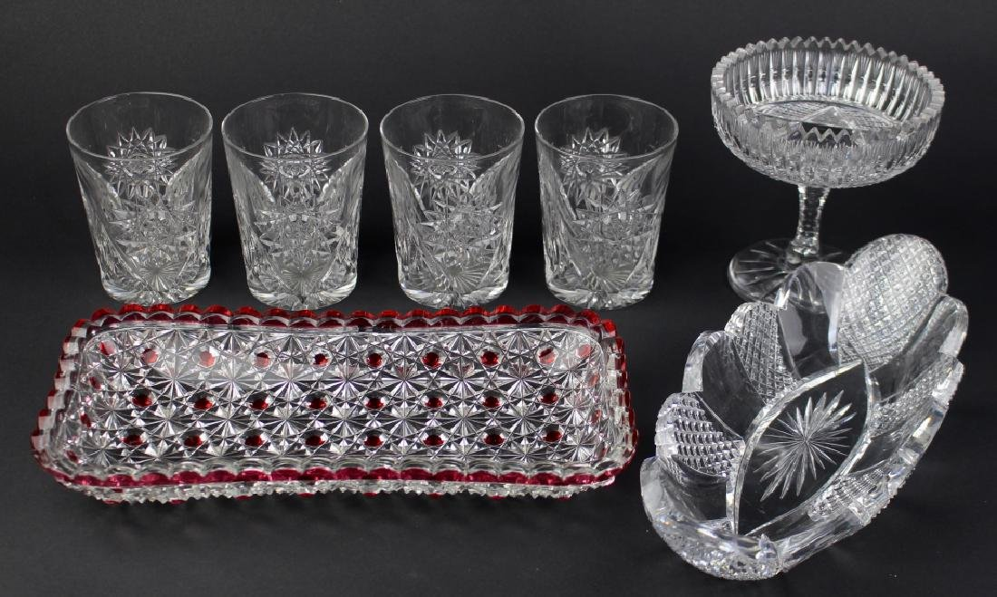 Signed Cut Glass Group; 7 Pieces