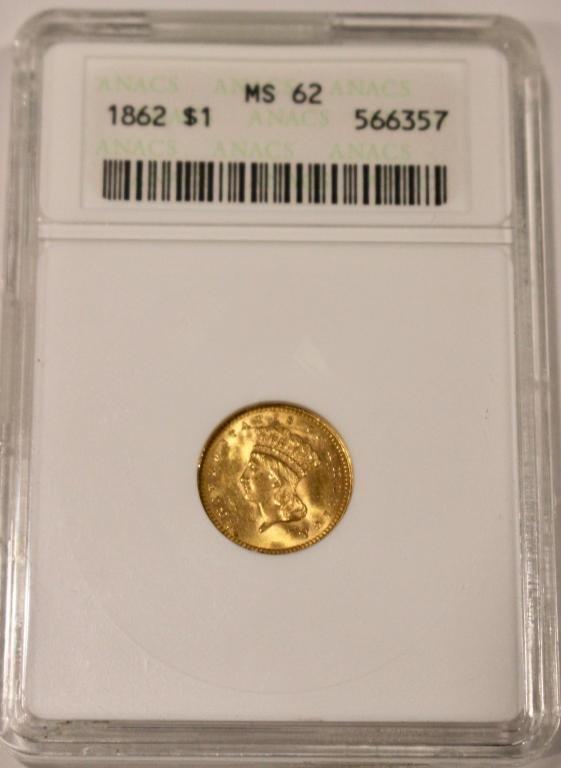 Rare 1862 Gold US $1 Princess Coin