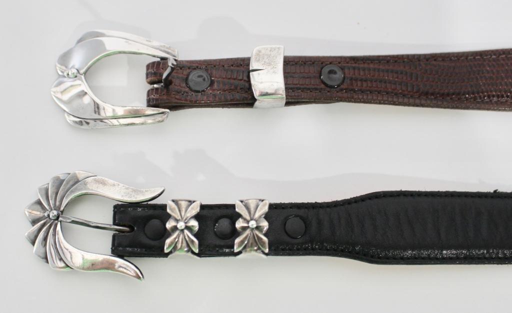 Two David Dear Sterling Belt Buckles