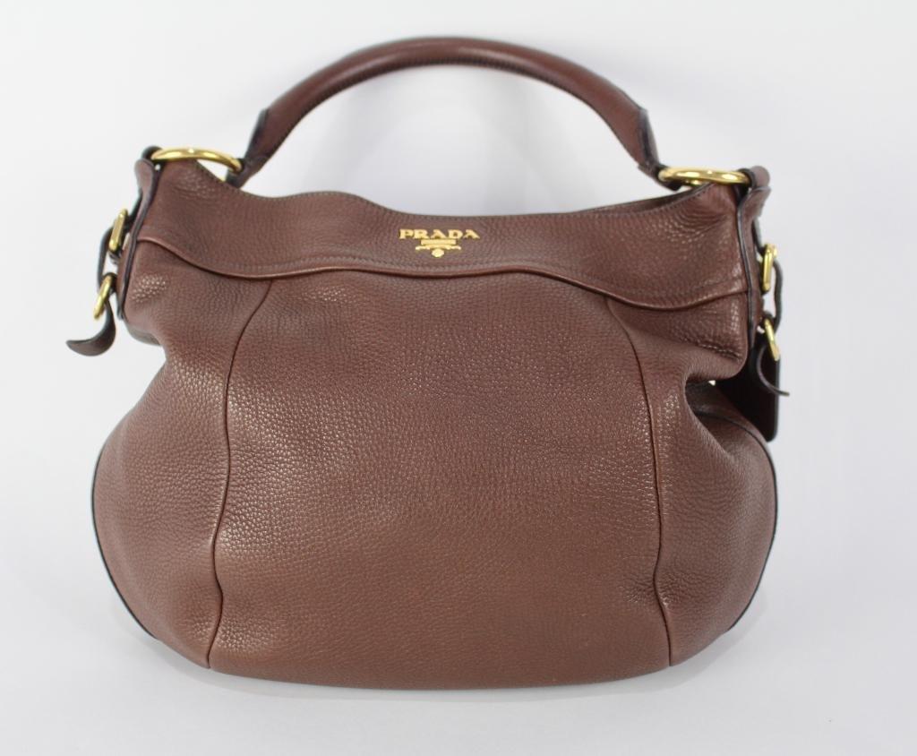 Prada Brown Pebble Grain Handbag