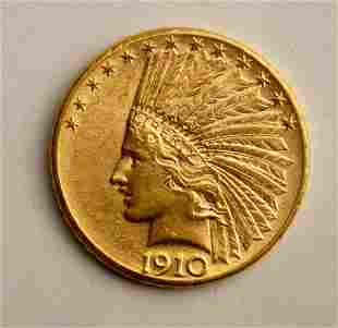 US $10 Gold Indian Head Coin 1910-D