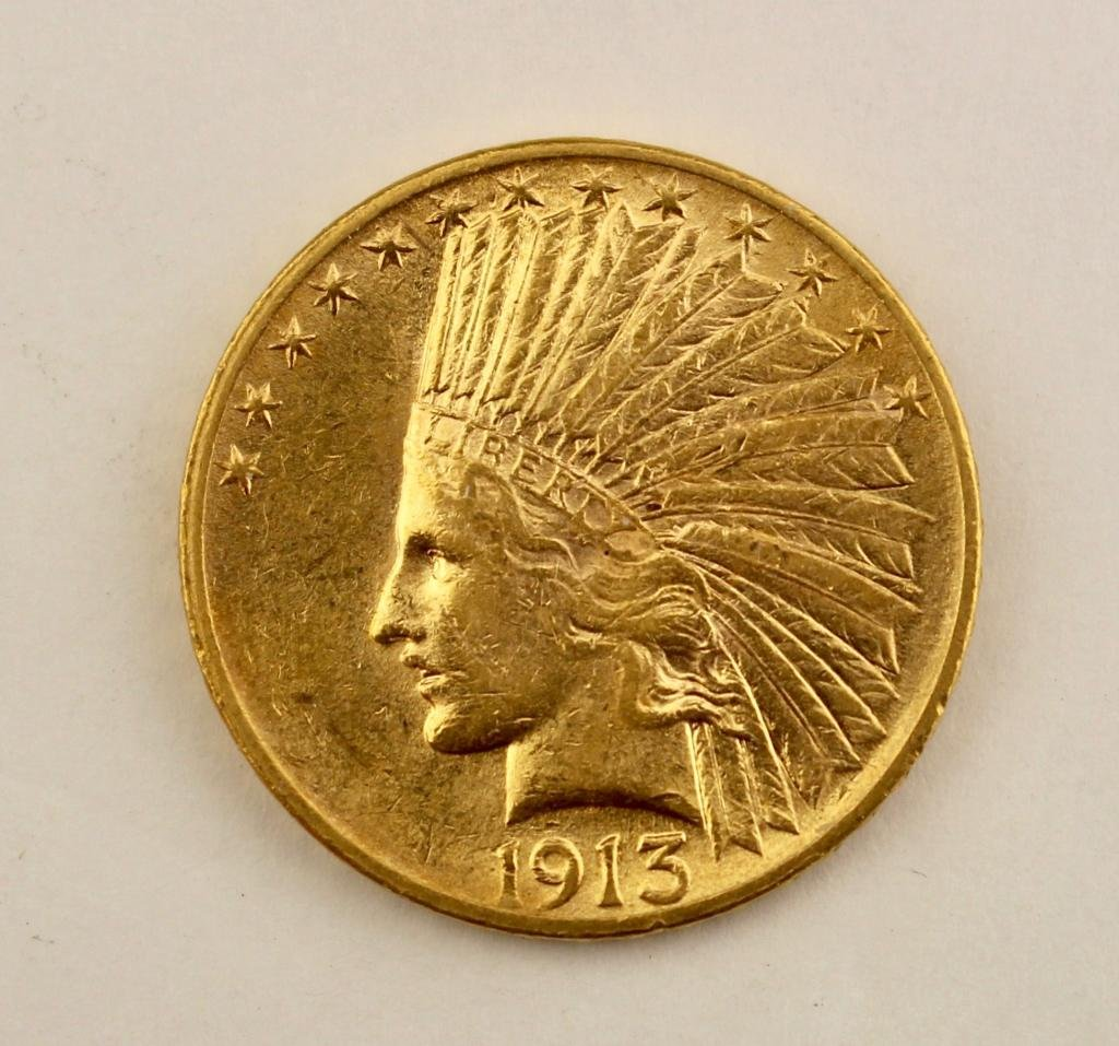 US $10 Indian Head Gold Coin 1913