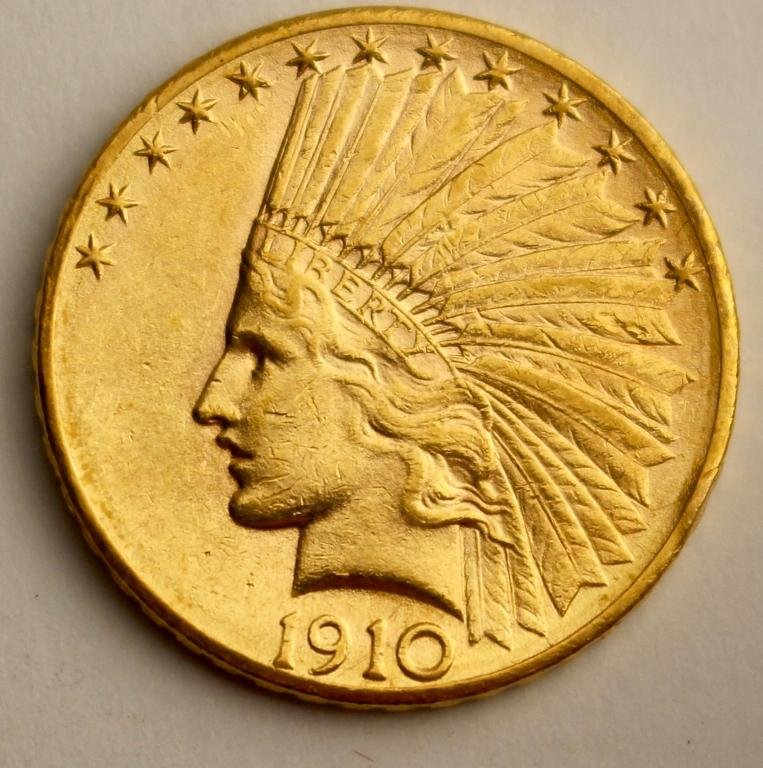 US $10 Indian Head Gold Coin 1910