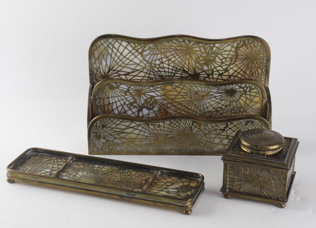 Tiffany Studios Pine Needle Desk Accessories