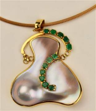 Blister Pearl & Emerald Necklace