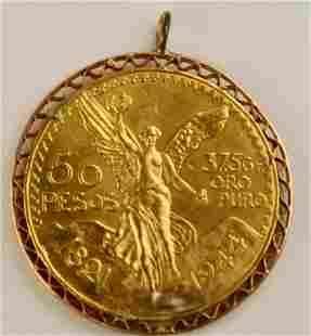 1944 Mexican Gold Coin 50 Pesos